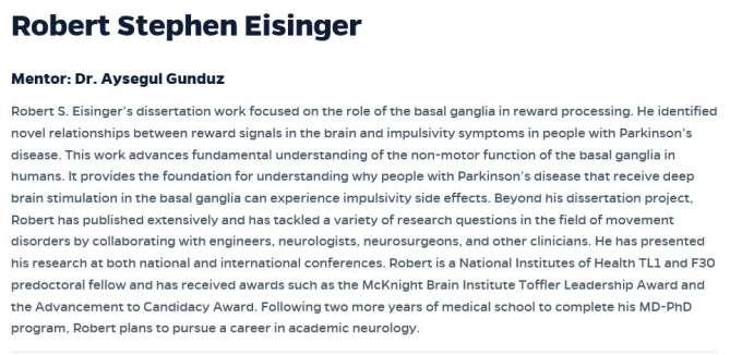 Mentor Statements on Robert Eisinger
